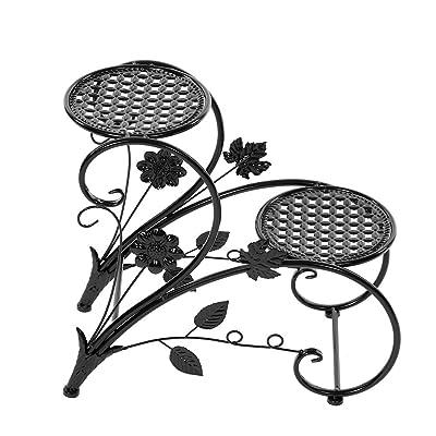 Iron Flower Pot Stands, 2 Tiers Iron Floor-Standing Plant Display Indoor Outdoor Iron Art Flower Pot Holder Rack for Garden Patio Decor (Black) : Garden & Outdoor