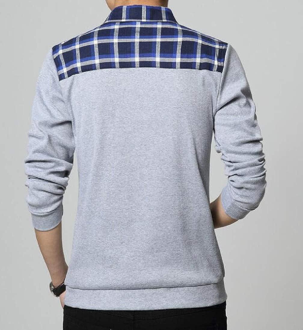 Winwinus Mens Plus Size Long-Sleeve Button Turn-Down Collar Tops T-Shirts