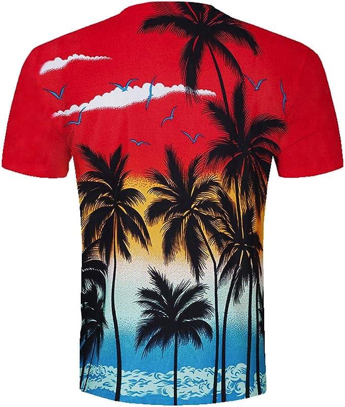 Oliviavan Camiseta de Manga Corta para Hombre, Verano Nueva Camisetas Hombre Viento Hawaiano Manga Corta Impresión 3D Joven Hombre Camisetas Casual: Amazon.es: Ropa y accesorios