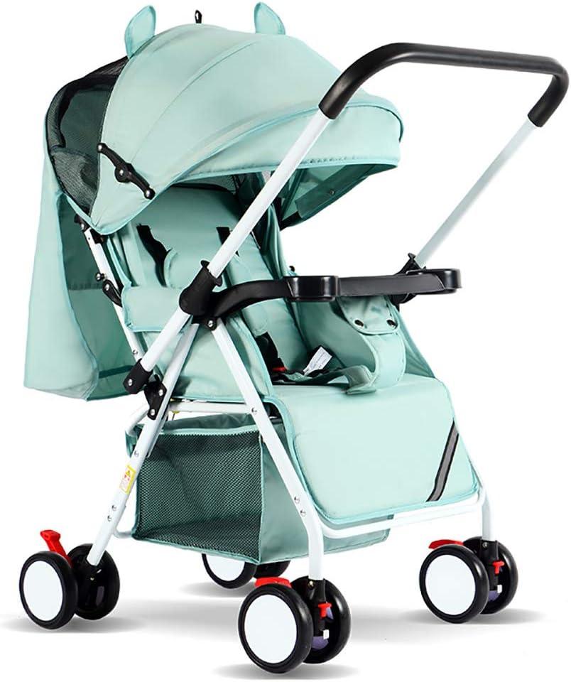 強い5点式シートベルトベビーカー、折り畳み可能な耐衝撃性ハイビューキャリッジ幼児乳母車、コンパクトな乳母車、ベビーカーリクライニングバギー 子供向け, green