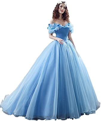 789afba2f66 ZVOCY Women s Ball Gown Cinderella Quinceanera Dresses Butterfly Off The Shoulder  Wedding Dress Blue 2
