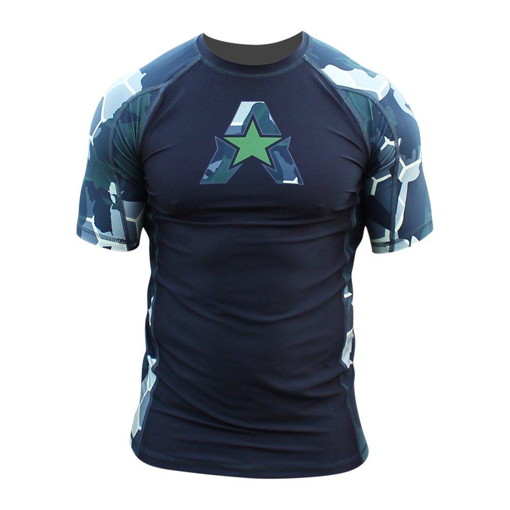 Hex Camo  Green Medium Anthem Athletics New  10+ Styles HELOX Short Sleeve Rash Guard Compression Shirt  BJJ, MMA