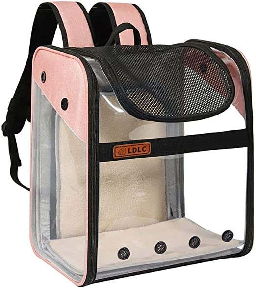 LQLQY Pet Cat Dog Carrier Transparent Backpack Full View Extended Cat Outdoor Travel Carrier with Expansion Space Foldable Pet Bag, Pink: Amazon.es: Productos para mascotas
