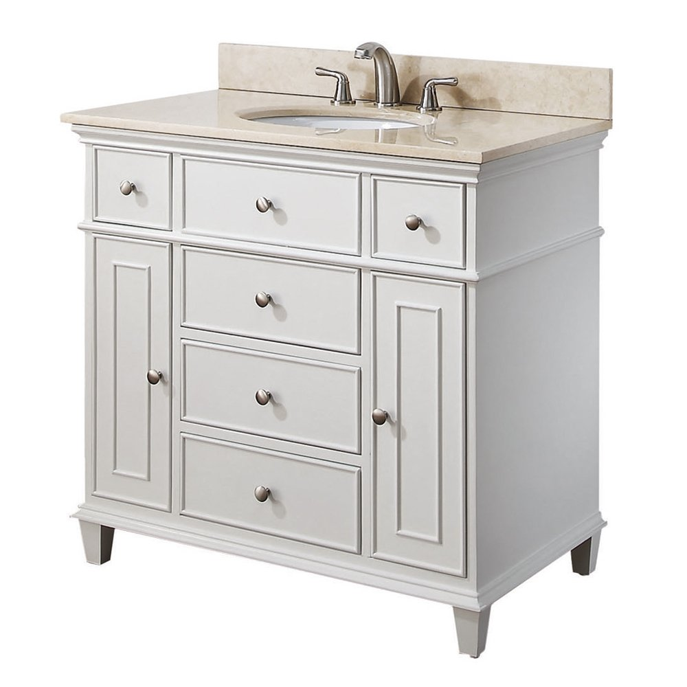Ordinaire Avanity Windsor 36 In. Vanity With Carrera White Marble Top And Undermount  Sink In White Finish   Bathroom Vanities   Amazon.com