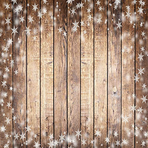 Kate 10x10ft Christmas Glitter Brown Wood Backdrop for Photography Snowflake Background Baby Birthday Party Table Booth Prop Seamless Cotton Backdrop