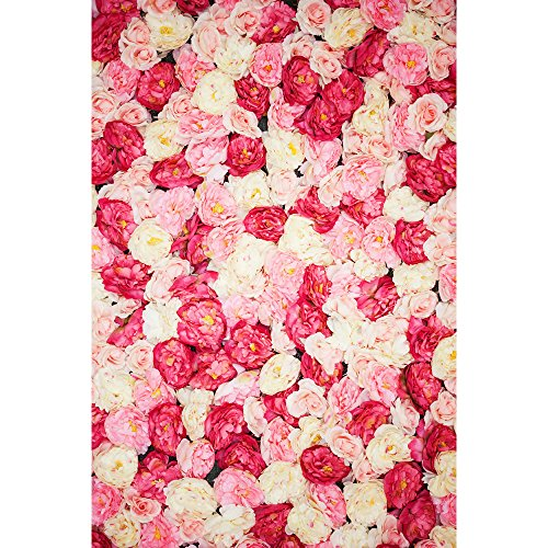 Muzi Photography Backdrops Flowers Floral Roses Wall Backdrop Valentine's Day Wedding Party Photo Background D-1639 (Valentine Wall)