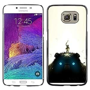 KLONGSHOP // Cubierta de piel con cierre a presión Shell trasero duro de goma Protección Caso - Gigante de peluche - Samsung Galaxy S6 //
