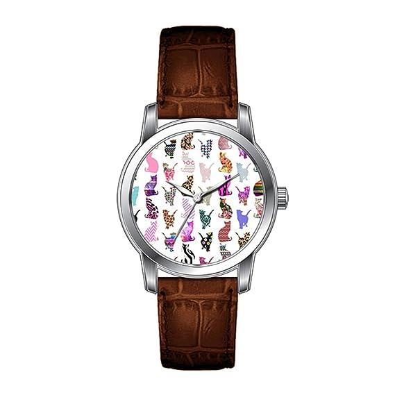JLS Creative relojes hombres banda de diseño vintage de piel color ...