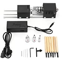 Luckgo Mini Lathe Beads Machine Wood Working Diy Lathe Set With Dc 24V Power Adapter Metal Cover