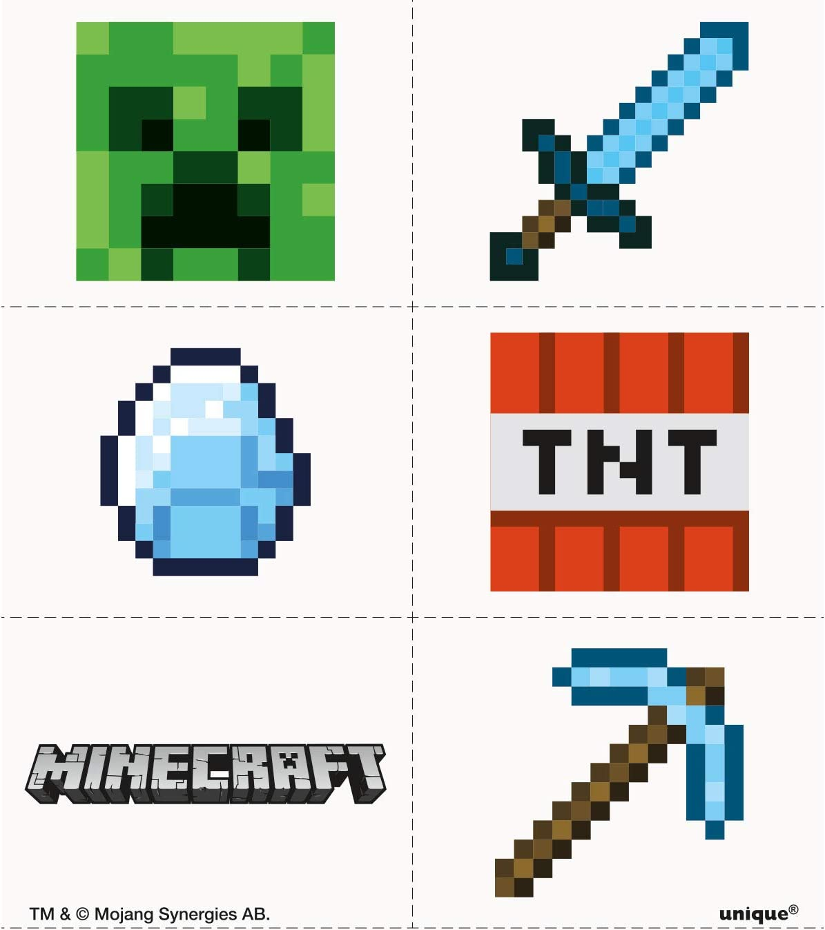 Amazon.com: Unique Shindigz Minecraft - Tatuajes para ...