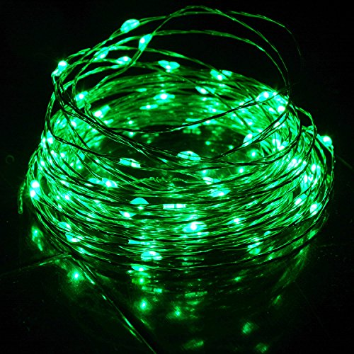 HAHOME Waterproof Led String Lights,33Ft 100 LEDs Indoor and Outdoor Starry Lights with Power Supply for Christmas Wedding and Party (St Patricks Day Lights)