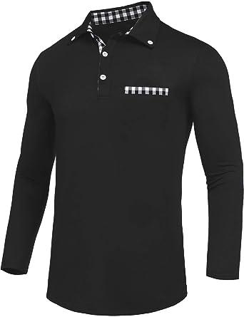 4359849e959 Daupanzees Men s Polo Shirt Classic Casual Long Sleeve Slim Fit Check  Patchwork T-Shirt Plaid