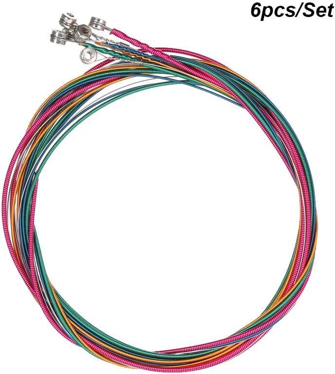 6 unids/set Rainbow Colors Colorido Cuerdas de Guitarra Acústica Instrumentos Musicales Alambre de Acorde de Reemplazo