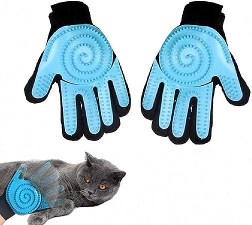 Feixiangge - Guantes de silicona para mascotas, guantes de pelo de mascotas, guantes de peine, para perro, gato, universal, para el baño, masajes, guantes de belleza, color azul, 1 par: Amazon.es: Hogar