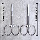 """LaVieEn LS01 Eyebrow and Nose Hair Scissors, 3.7"""" Stainless Steel Professional Facial Hair Beard Eyelashes Ear Hairs and Mustache Scissors 2"""