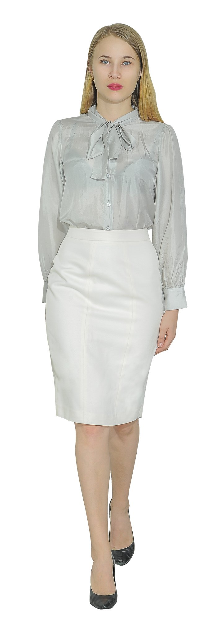 Marycrafts Women's Lined Pencil Skirt 4 Work Business Office 10 Beige by Marycrafts (Image #2)