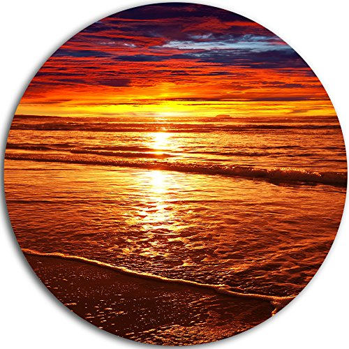 Colorful Sunset Mirrored in Waters Round Metal Wall Art Disc