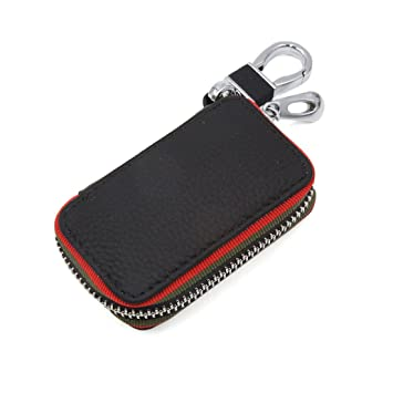 Amazon.com: uxcell Black Litchi Stria Design Zipper Key ...