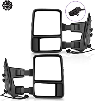 INEEDUP Tow Mirrors Towing Mirrors Fit for 1999-2015 For Ford F250//F350//F450//F550 Super Duty with Driver and Passenger Side Manual Control No Heated With Turn Signal Light