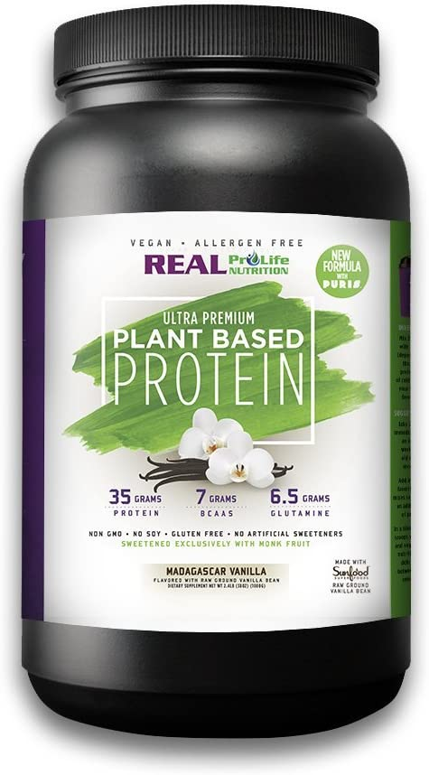 Real Pro Life Nutrition NEW Plant Based Protein, Vanilla, 35g Protein, 22 Servings, 7g BCAA s, 6.5g Glutamine, 2.4lbs 1080g