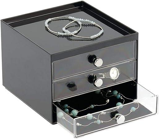 mDesign Caja para Guardar Joyas – Organizador de Joyas con 3 cajones de plástico Transparente – Joyero con cajones para la cómoda o el Lavabo – Negro/Transparente: Amazon.es: Hogar
