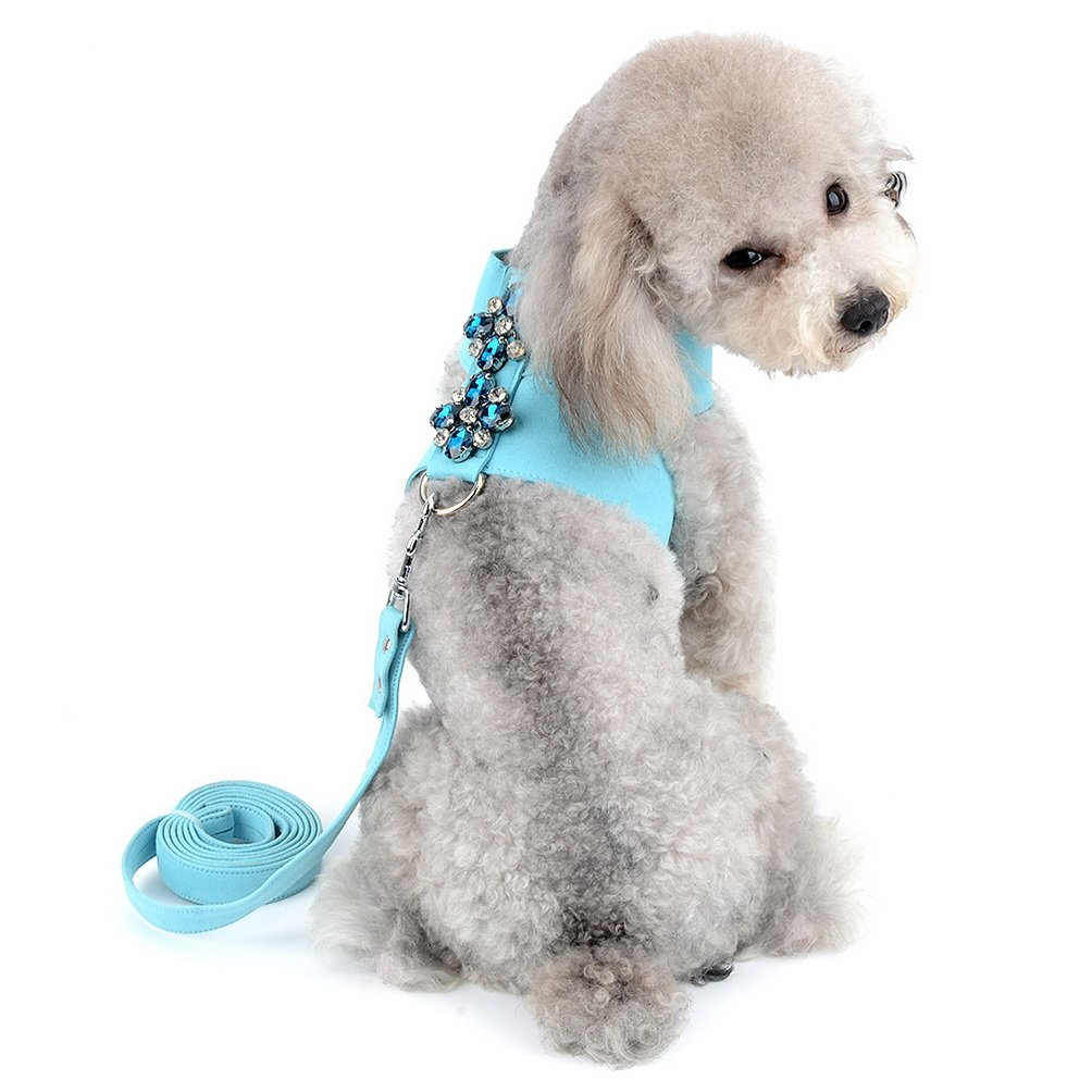 SELMAI Dog Vest Harness and Leash Set for Small Pet Puppy Doggie Cat Girl Soft Suede Leather Collar Adjustable No Pull Bling Rhinestone Decoration Chihuahua Walking Running Sport Training Lead Blue L