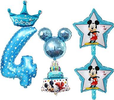 Amazon.com: Juego de 6 globos de 4 cumpleaños con 4 globos ...