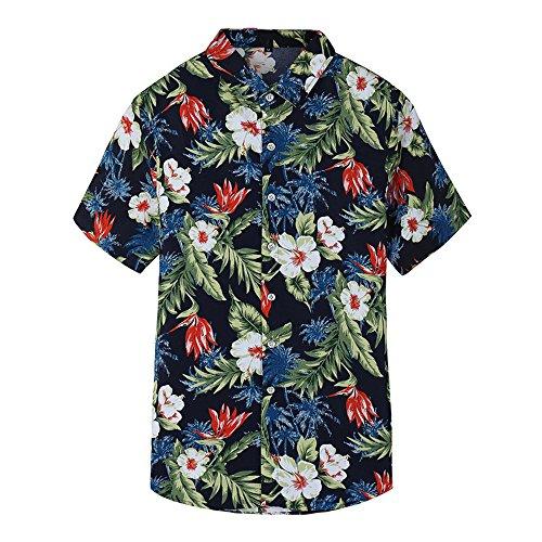 WULFUL Mens Floral Short Sleeve Button Down Slim Fit Print Shirts Hawaiian