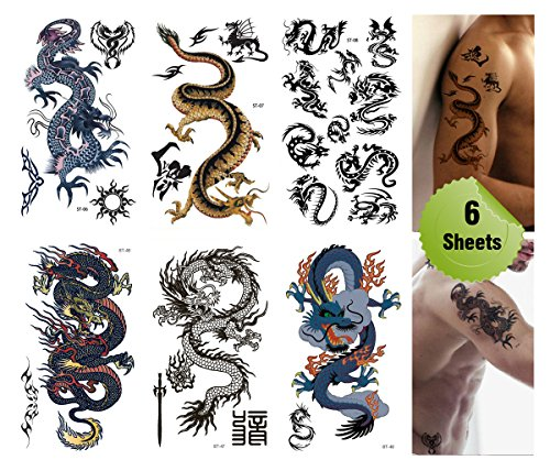 supperb-mix-dragons-temporary-tattoo-6-pack