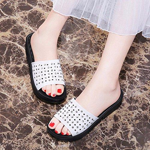 De Fondo QPSSP Y white Con Grueso Cuero Zapatillas Zapatillas Antideslizante xUxI5RH