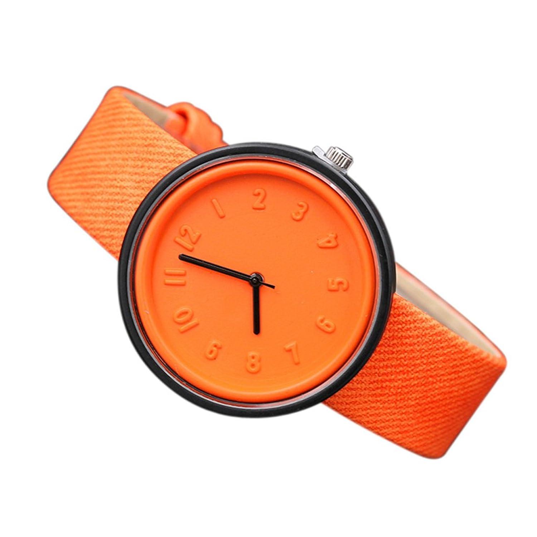 腕時計、Poto 2017新しいユニセックスシンプルなファッション数クオーツキャンバスベルト腕時計バッテリー M オレンジ B07284D5F7オレンジ