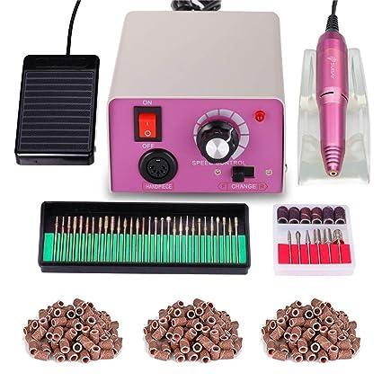 Torno para uñas acrilicas Paquete de máquina de pulido de uñas eléctrica profesional de bajo ruido y baja vibración Manicura Pedicura Limas de uñas + ...