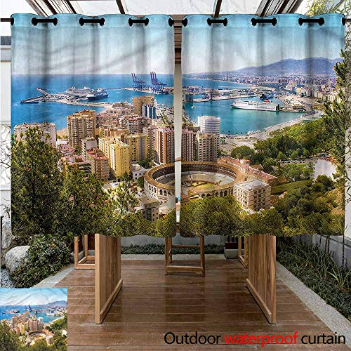 Sliding Door Curtain Landscape Aerial View of Malaga for Patio/Front Porch W 55