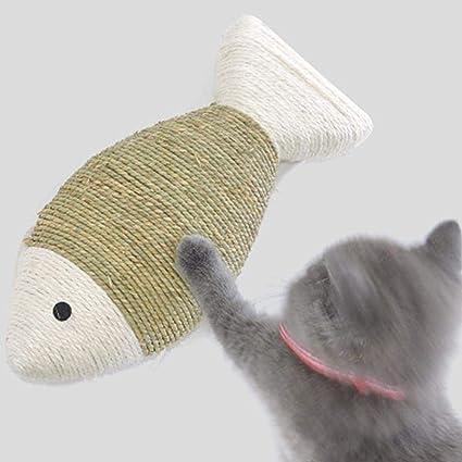 Juguete de sisal para gatos, cuerda de paja para tejer peces grandes gatos juguete aburrido