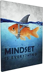 "Mindset is Everything Motivational Canvas Wall Art Inspirational Entrepreneur Quotes Positive Goldfish Shark Painting Picture Office Bedroom Living Room Home Decor Ready to Hang 12"" Wx16 H"