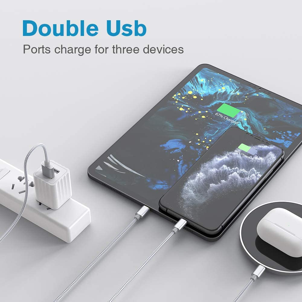 Phone Charger Lightning Cable Dual Port 2.1A USB Phone Charger with Wall Plug Adapter Block Box Replacement for iPhone Xs Moto Google //Xr//X//8 LG max iPad Samsung Galaxy S9//S8//Note 9 Pixel HTC