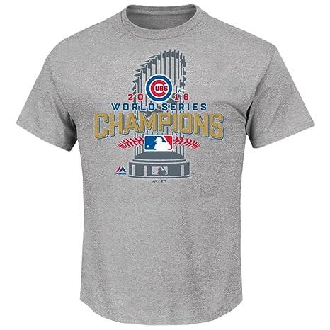 Chicago Cubs Majestic 2016 World Series Champions Locker Room T-Shirt -  Gray L dfe3316c1