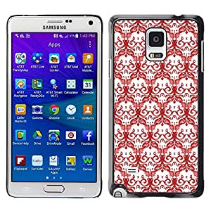 Stuss Case / Funda Carcasa protectora - Skulls Red White Drawing Wallpaper Death - Samsung Galaxy Note 4 SM-N910