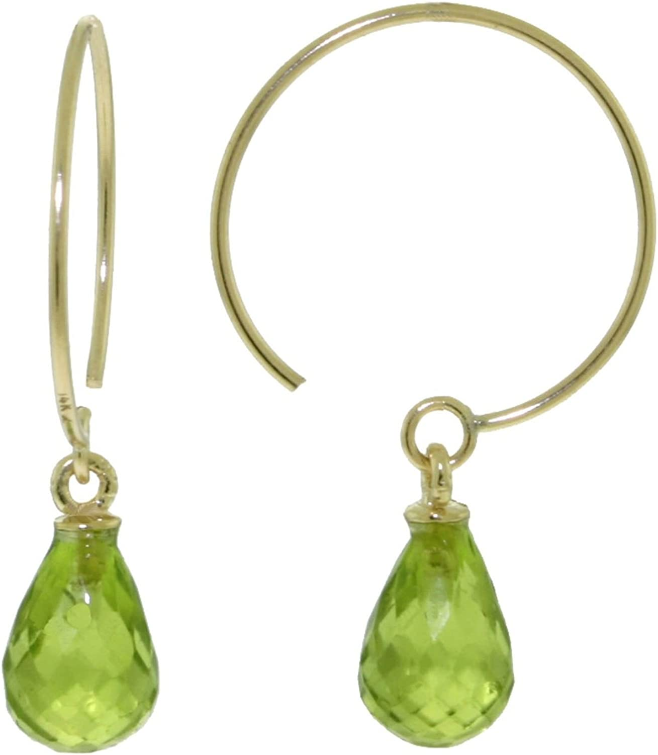 ALARRI 1.35 Carat 14K Solid Gold Circle Wire Earrings Peridot