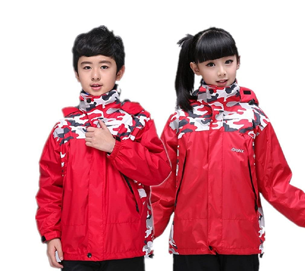 Bakerdani Kids Waterproof Windproof Double Velour Three-in-one Two-piece Coat