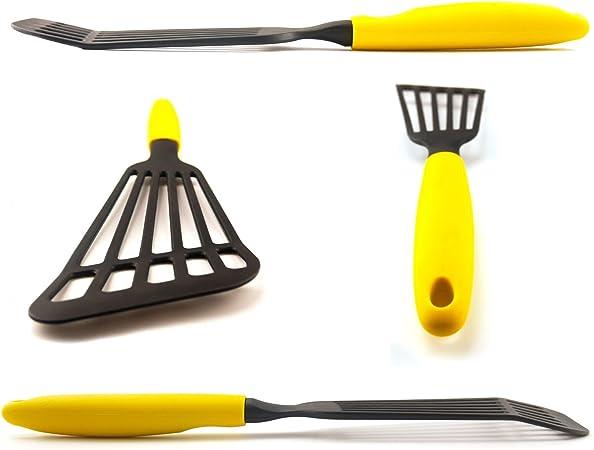 LEMCASE Nylon Esp/átula de Pescado Amarillo Turner Ranurado,Espatula perforada y tornero de pescado flexible con asas de silicona