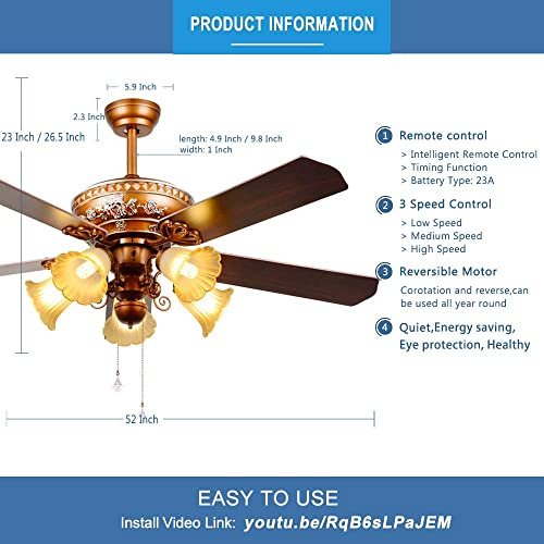 RainierLight Ceiling Fan 52 Remote Control 5 Wood Reversible Blades 3 Speed LED Light for Indoor Quiet Energy-Saving Fan