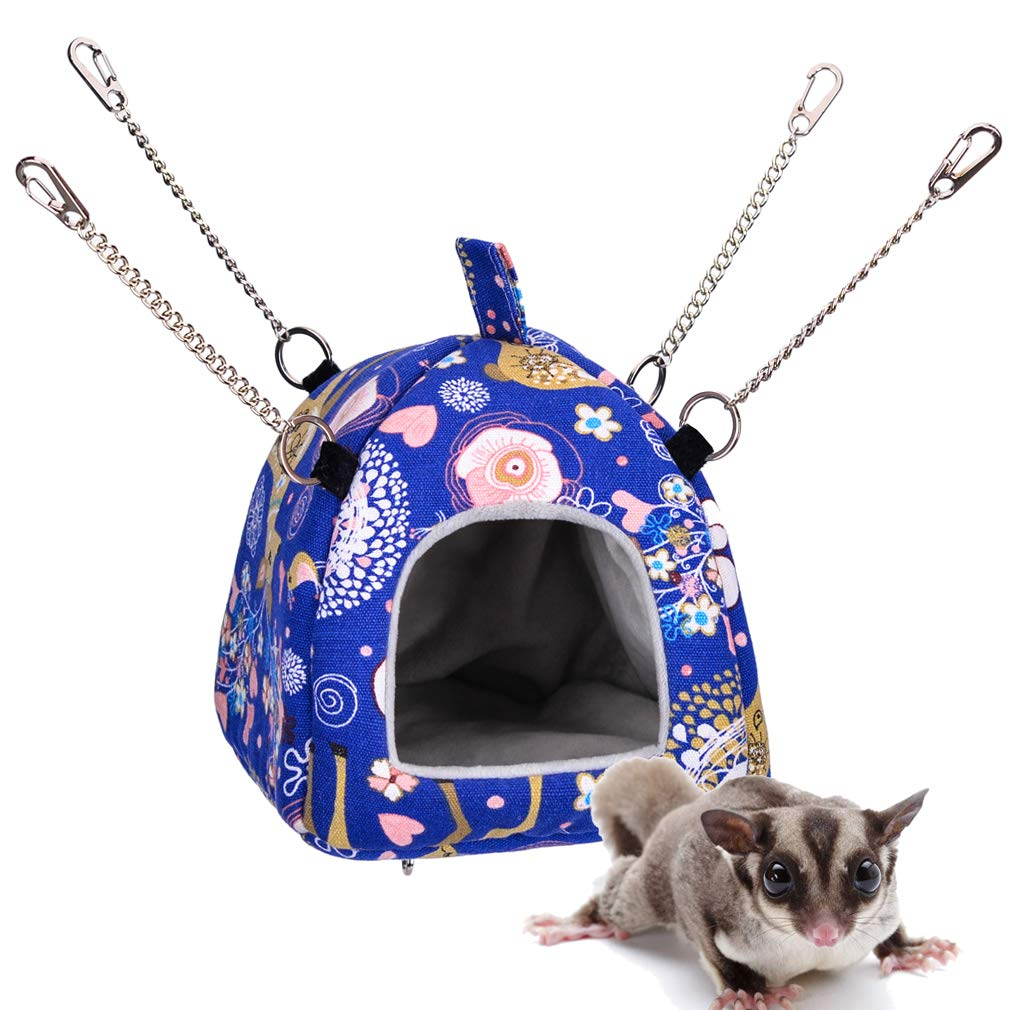 Hamster Tent Bed House,Guinea pigs Habitat Cave Hanging Hut,Hedgehog Winter Cage Nest,Warm Fleece Sleeping Bed Cube for small parrot Sugar Glider Squirrel Chinchilla Rat Rabbit (M, Blue Deer Style) by KINTOR