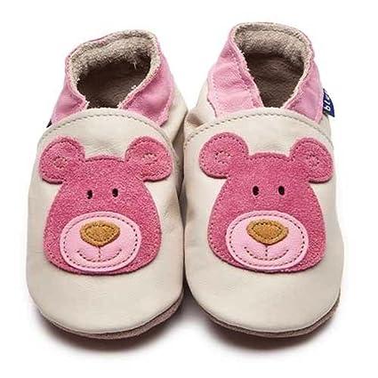 Zapatos Inch Blue Oso de peluche de cuero blando en Blanco y Rosa (en caja
