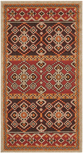 Safavieh Veranda Collection VER093-0332 Indoor/ Outdoor Red and Chocolate Contemporary Area Rug (2