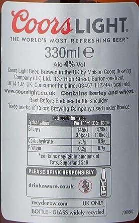Coors Light Beer Case Of 6 330 Ml Amazon Co Uk Grocery