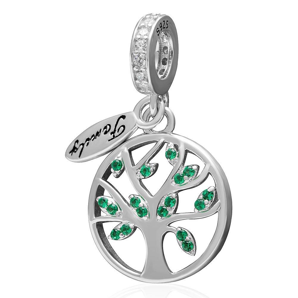 Family Tree of Life Dangle Charm 925 Sterling Silver Pendants for Women Fit European Bracelet