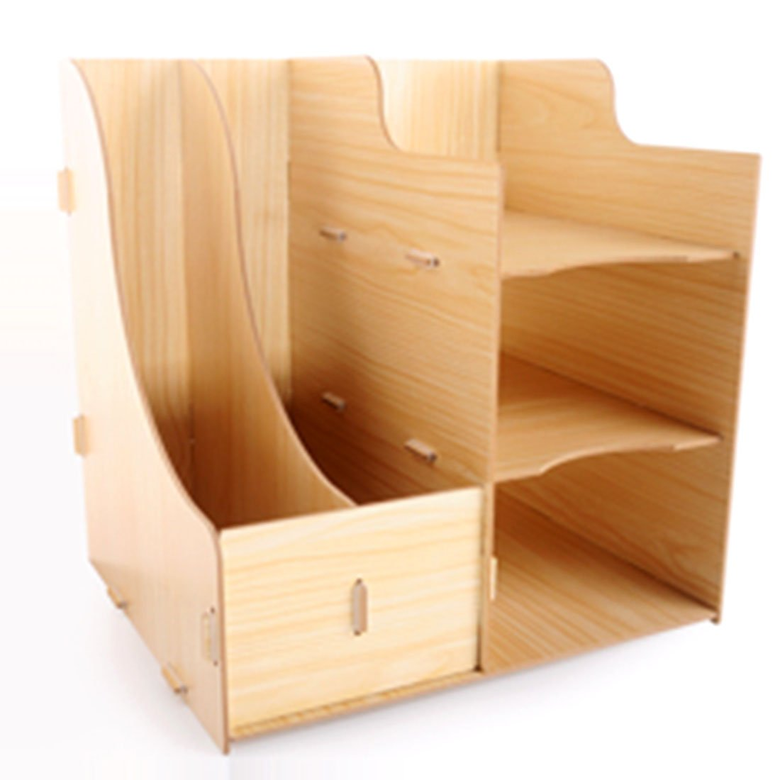 mrke DIY legno scatole libro scrivania storage rack Organizer forniture per ufficio rivista rack, colore rovere 28,7 * 24 * 30 cm Eiche Farbe