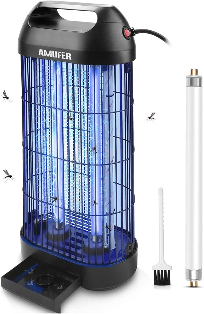 AMUFER Bug Zapper Electric Mosquito Killer/ Zapper, Fly Trap Indoor Powerful Insect Killer Fly Zapper with Mosquito Lamp for Indoor Home Office,1-Pack Replacement Bulb Included