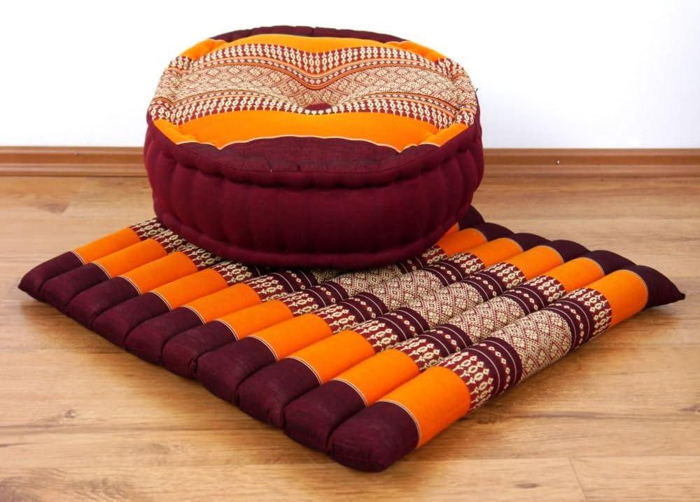 livasia Yogaset//Meditationsset der Marke Asia Wohnstudio: 1 x Zafukissen Meditationskissen G/ünstiges Set + 1 x Sitzkissen mit Reiner Kapokf/üllung Yogakissen